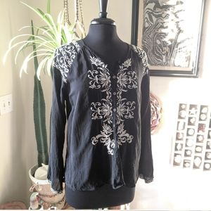 Johnny Was M Black & White Boho Embroidered Tunic